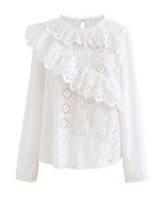 刺繡花柄アイレットラッフルトップス ホワイト