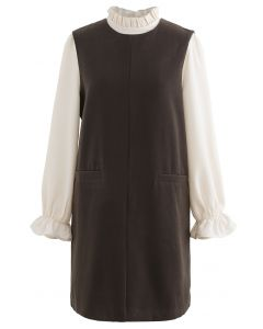 Ruffle Neck Wool-Blend Twinset Dress in Olive