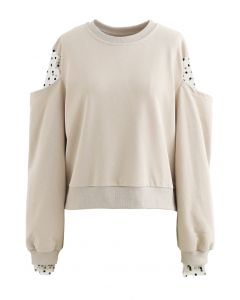Cold-Shoulder Dotted Mesh Sleeves Spliced Top in Sand