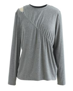 One-Shoulder Cutout Ruched Top in Grey