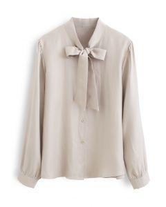 ボウノットボタンダウンシャツ アイボリー