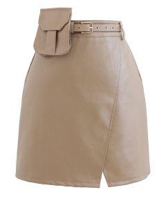 ポケットベルト付きフェイクレザーミニスカート ベージュ