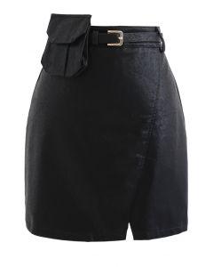 ポケットベルト付きフェイクレザーミニスカート ブラック