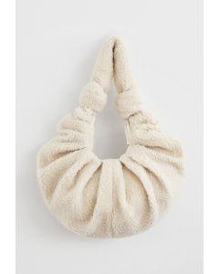 Teddy Shoulder Croissant Bag in Ivory