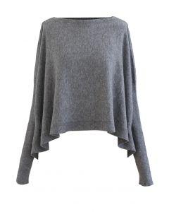 ソフトフレア裾ケープセーター グレー