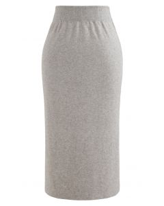ハイウエストニットスカート サンド