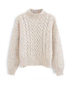 ドットハイネックチャンキーセーター