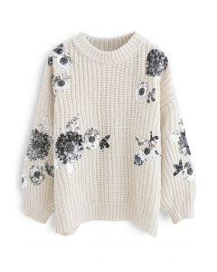スパンコール花柄リブ編みセーター アイボリー
