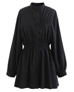 シャーリングボタンダウンシャツワンピース ブラック