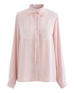 リボンネクタイメッシュネックサテンシャツ ピンク