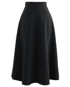 無地ウール混ミディスカート ブラック