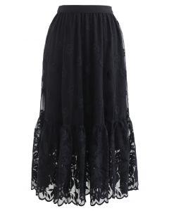 フラワー刺繍オーガンジーラッフルスカート ブラック