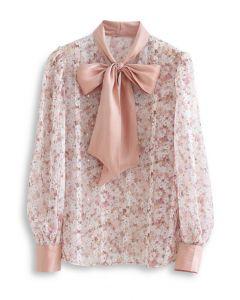 ボウタイ花柄オーガンジーシャツトップス ヌードピンク