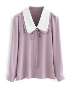 ダブルカラーシャツトップス ピンク