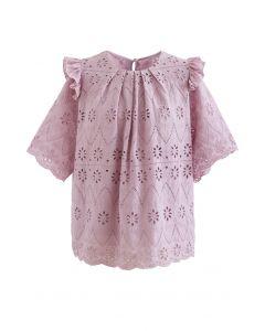 アイレット刺繍フリルブラウス ピンク