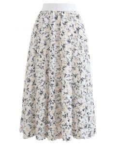 フラワープリントミディスカート ホワイト
