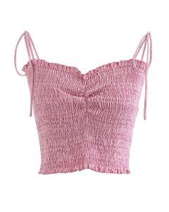 シャーリングキャミトップス ピンク