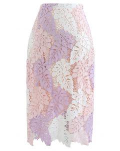 カラーブロックリーフクロッシェタイトスカート ピンク