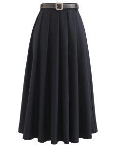 ベルト付きクラシックプリーツスカート ブラック