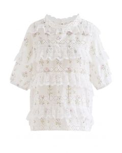 Lace Accent Floret Eyelet Top