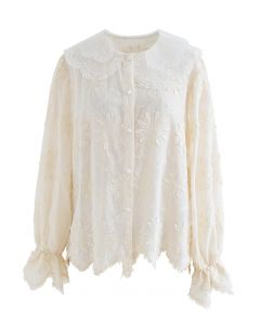 Organza Neck Delicate Embroidered Shirt in Cream