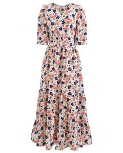 Bicolored Floral Printed Wrap Frilling Dress
