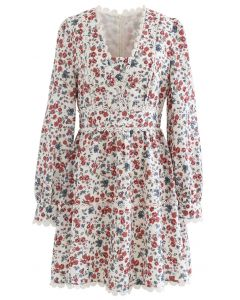 Modest Floret Printed Crochet Dress
