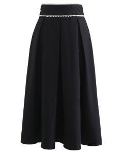 パールウエストプリーツミディスカート ブラック