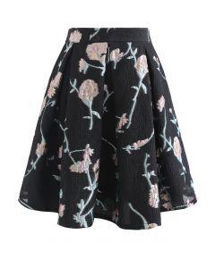 花柄ジャカードエンボスミニスカート