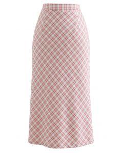 ギンガム柄スリットスカート ピンク