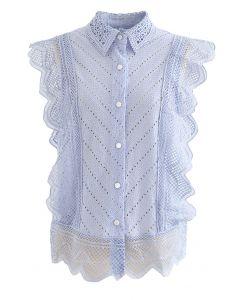 レースアイレット刺繍ノースリーブシャツ ブルー