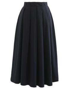 ミモレ丈コットンプリーツスカート ブラック