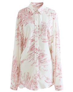 フラワープリントロングシャツ ピンク