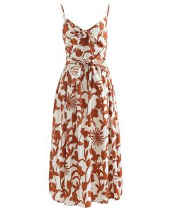 Tropical Print Knot Shirred Cami Dress in Caramel