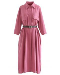 ベルト付きコットンシャツワンピース ピンク