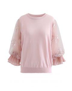 刺繍チュール袖ニットトップス ピンク