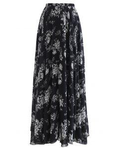 花柄シフォンマキシスカート ブラック