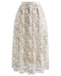 蝶々刺繍レイヤードチュールスカート アイボリー