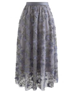蝶々刺繍レイヤードチュールスカート グレー