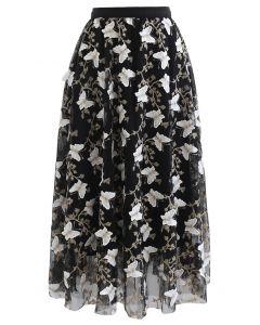 蝶々刺繍レイヤードチュールスカート ブラック