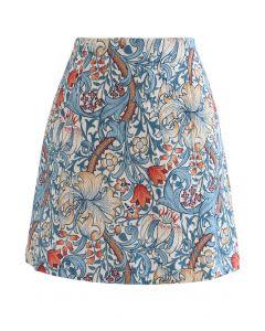 チューリッププリントエンボス台形スカート ブルー