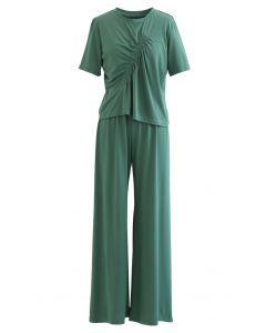 シャーリングTシャツ×パンツセット グリーン