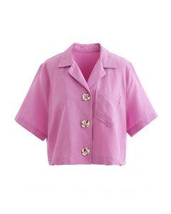 デザインボタンクロップシャツ ピンク