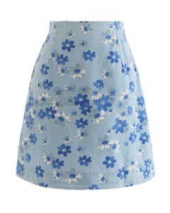 フラワープリントデニム台形スカート ライトブルー