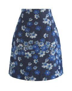 フラワープリントデニム台形スカート ネイビー