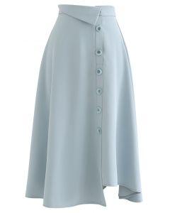 フロントボタンアシンメトリースカート ライトブルー