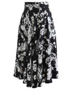 手書き風花柄プリントミディスカート ブラック