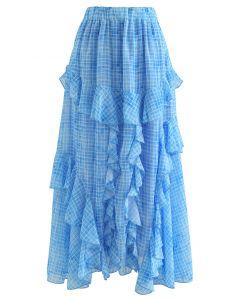 ラッフルギンガムマキシスカート ブルー