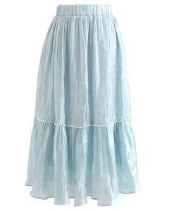 パールデコサテンスカート ブルー