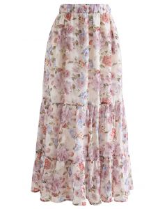 花柄ジャカードラッフルマキシスカート